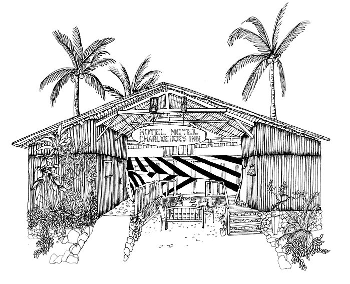 Illustration of Charlie Does Surf Hotel in Baler, Phillippines.