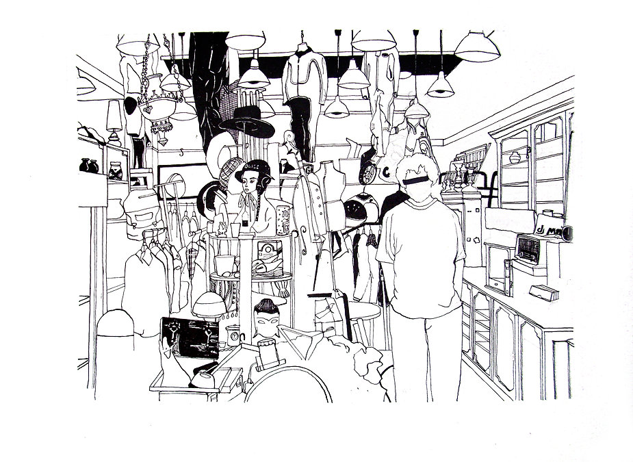 Illustration of shop in Crystal Palace, London.