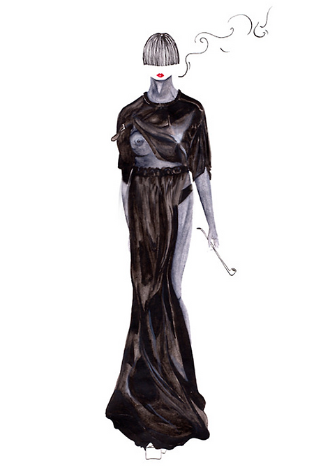 Yui Shen watercolour fashion illustration.