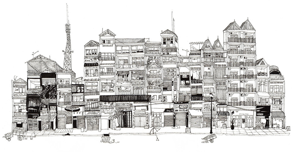 Illustration of shops and architecture in Phnom Pehn, Cambodia.
