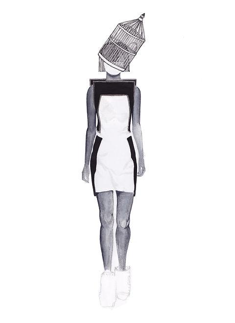 Gareth Pugh watercolour fashion illustration.