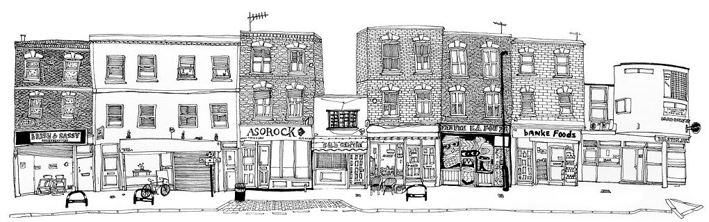 Illustration of shopfronts in Hackney, East London.