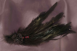 $20 Mini Feather Fascinator -Black Available in a Variety of Shapes and Colours.