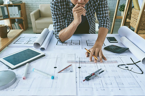 Cropped image of architect working with