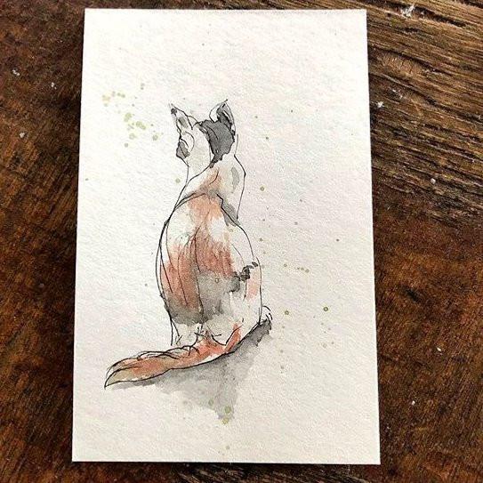 bunte Katze- Druck handgefertigter Zeichnung- verkauft