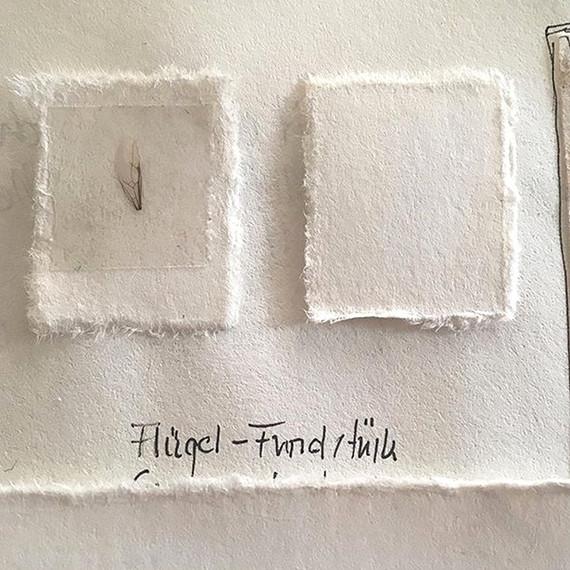 Flügelfundstück- Inspiration- handgeschöpftes Papier