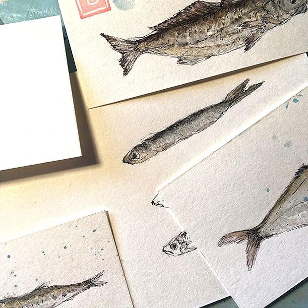 Fische- Drucke handgefertigter Zeichnungen- verschiedene Motive- verschiedene Grössen- Preise auf Anfrage