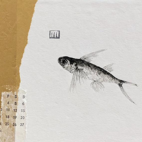 kleine Collage auf cardboard- ca. 15x21 cm- Aquarell und Tinte