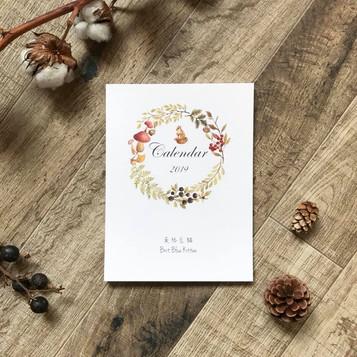 2019 手繪插畫水彩桌曆