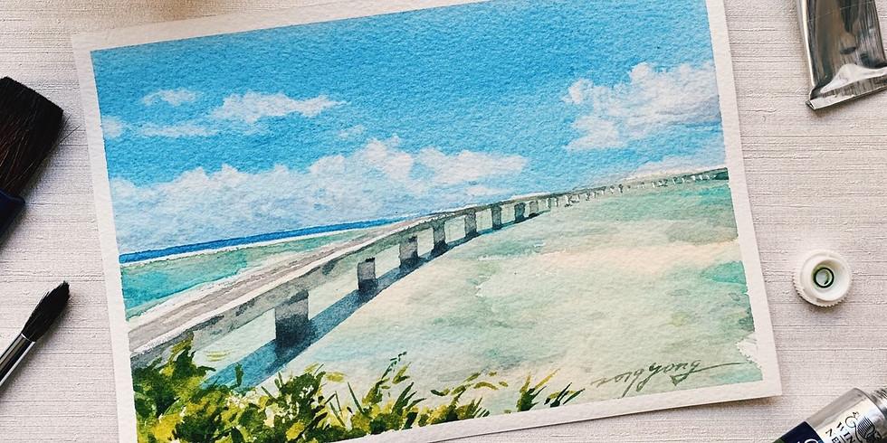 水彩 碧海與藍天的對話:沖繩古宇利橋