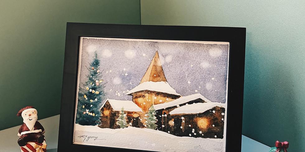 療癒輕水彩 雪白聖誕的溫暖祝福(週三)