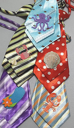 Summer/beach theme embellished medium neckties (Set of 5)