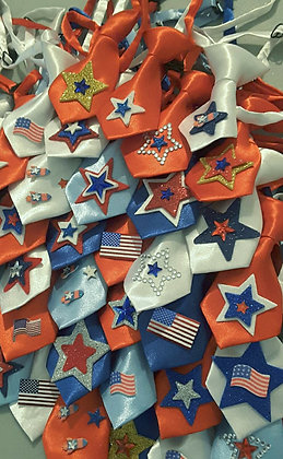 Patriotic theme embellished neckties set