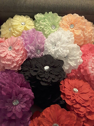 """Flowers - 4"""", clips or bands (Set of 5)"""