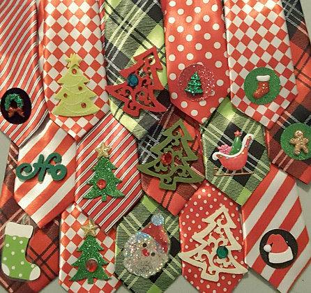 Christmas theme embellished big dog neckties set