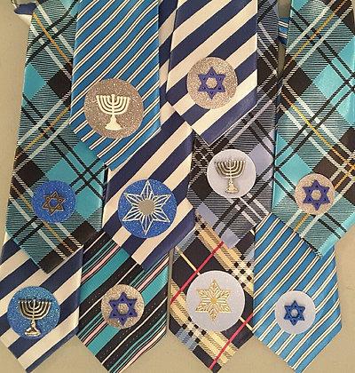 Hanukkah theme embellished medium neckties set