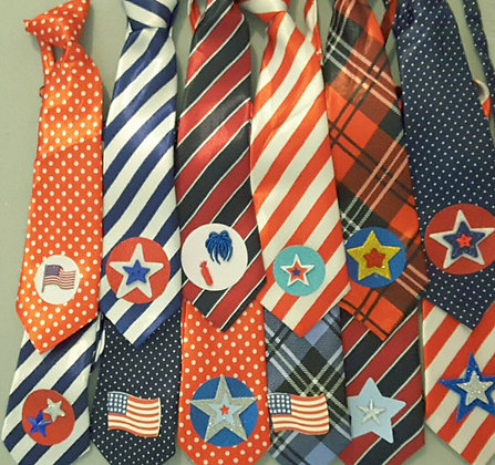 Patriotic theme embellished big dog neckties (set of 5)