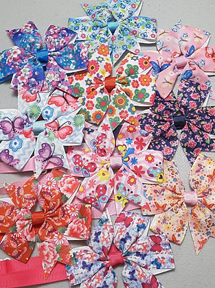 Butterflies and Flowers Print Pinwheel Bowties (Set of 5)