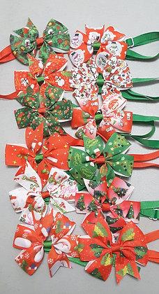 Christmas Print Pinwheel Bowties (Set of 5)