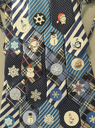 Winter theme embellished big dog neckties set