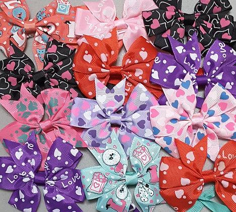 Valentines Print Pinwheel Bowties - LIMITED QUANTITIES (Set of 5)