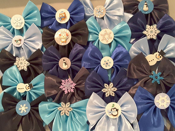 Winter theme embellished butterfly bowties Set