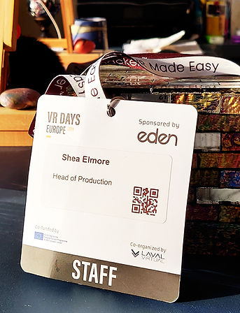 Badge for Shea Elmore as Head of Production for VR Days Europe 2019