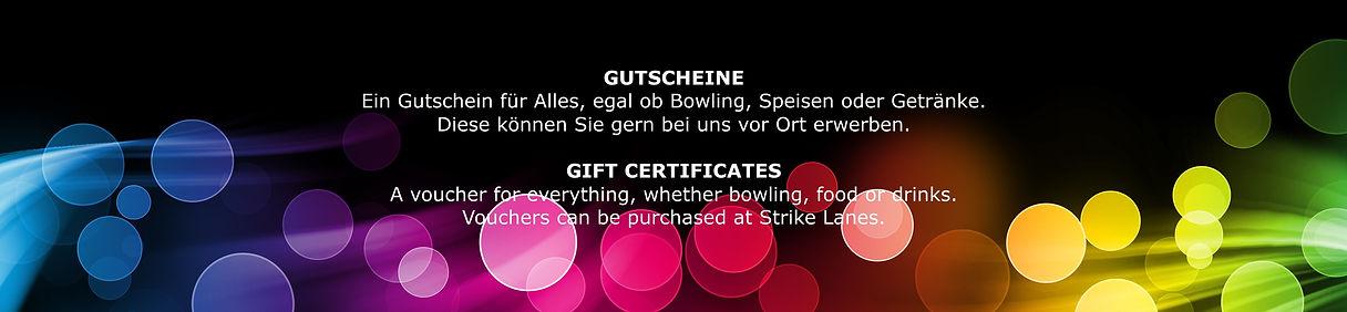 Bei uns können Sie Gutscheine für Bowling, Speisen oder Getränke kaufen.