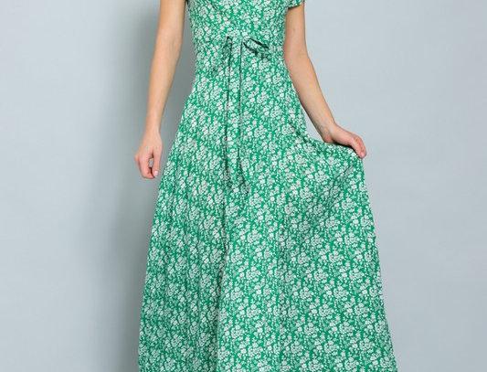 Green Cap Sleeve Wrap MaxiDress