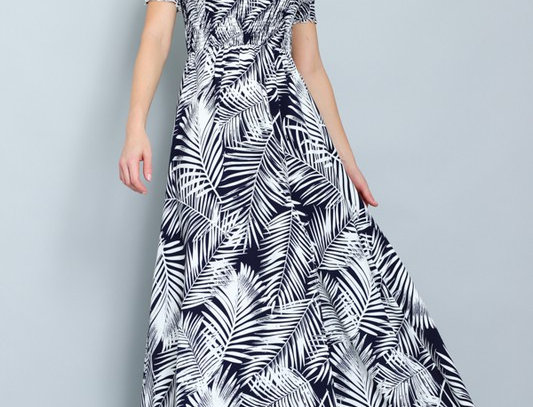 Navy / off white off the shoulder Maxi Dress
