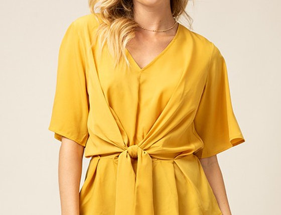 Mustard V Neck Top with Front tie