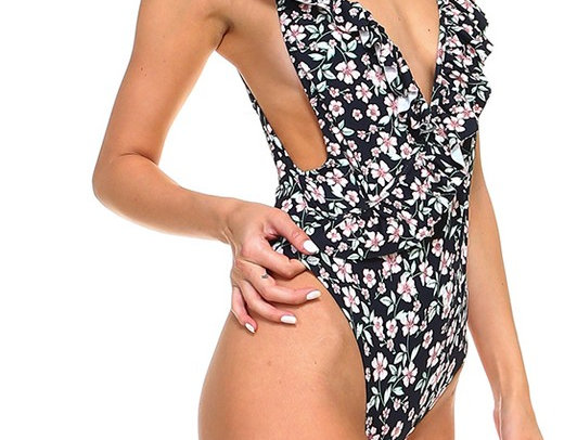 Floral 1 piece ruffle Swimsuit