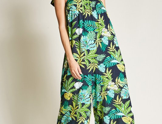 Green Black Floral Jumpsuit with Shoulder Bow
