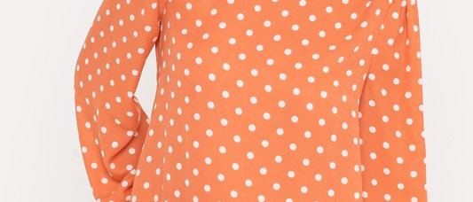 Polka Dot Orange Blouse