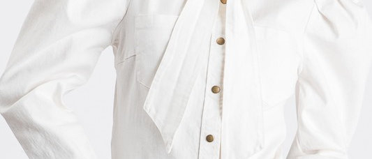 White Puff  Sleeve Denim Shirt with Bow Tie