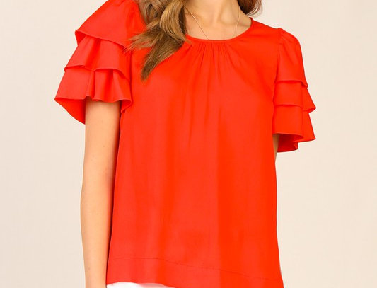 Red Ruffled Sleeve Top