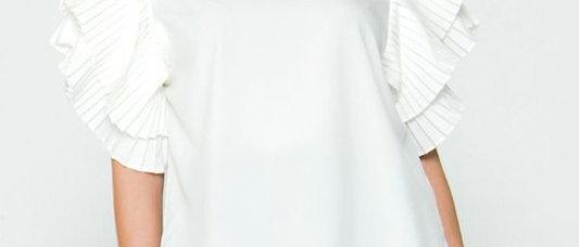White Ruffled Sleeve Blouse