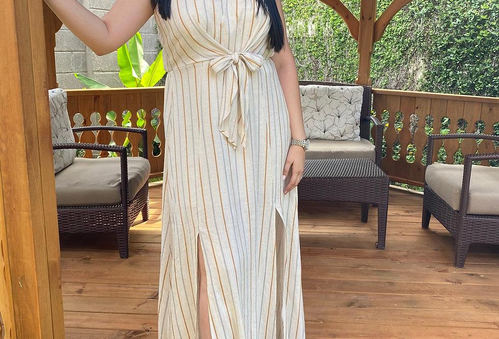 Natural Stripe Tie Front Maxi Dress