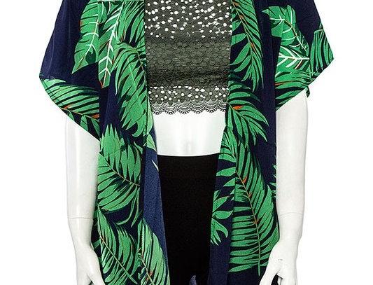 Navy Kimono Green leaves