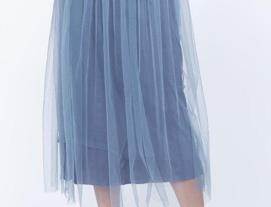 Blue Skirt with Long Mesh