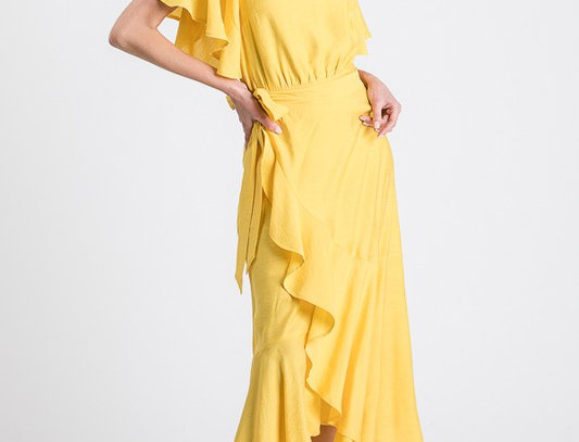 Yellow off the shoulder Wrap Dress