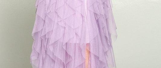 Lilac Ruffle Frills Long Skirt