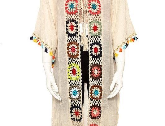 Crochet Flowered Detail Kimono