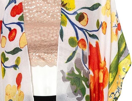 Orange, Yellow & White Floral Kimono
