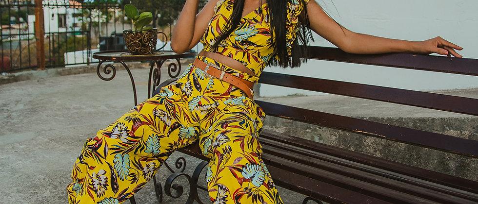 Yellow printed 2 piece set