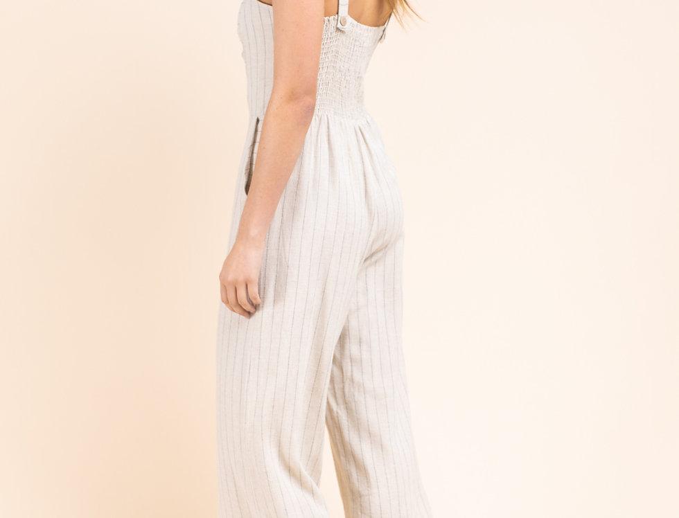 Front Twist Striped Jumpsuit