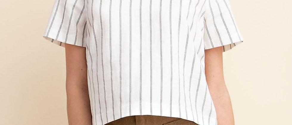 White Stripe Back Button Detail Top