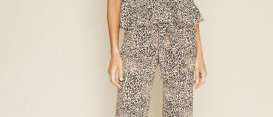 Leopard print Pants with Tie front belt