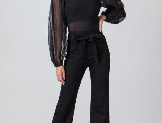 Self Belt Flare Jeans