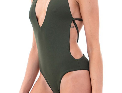 Olive Green 1 piece- Deep V Swimsuit